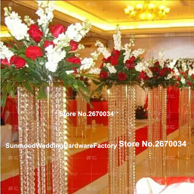 Gold Iron Road Leading Flower Stand Column Indian Wedding Mandap