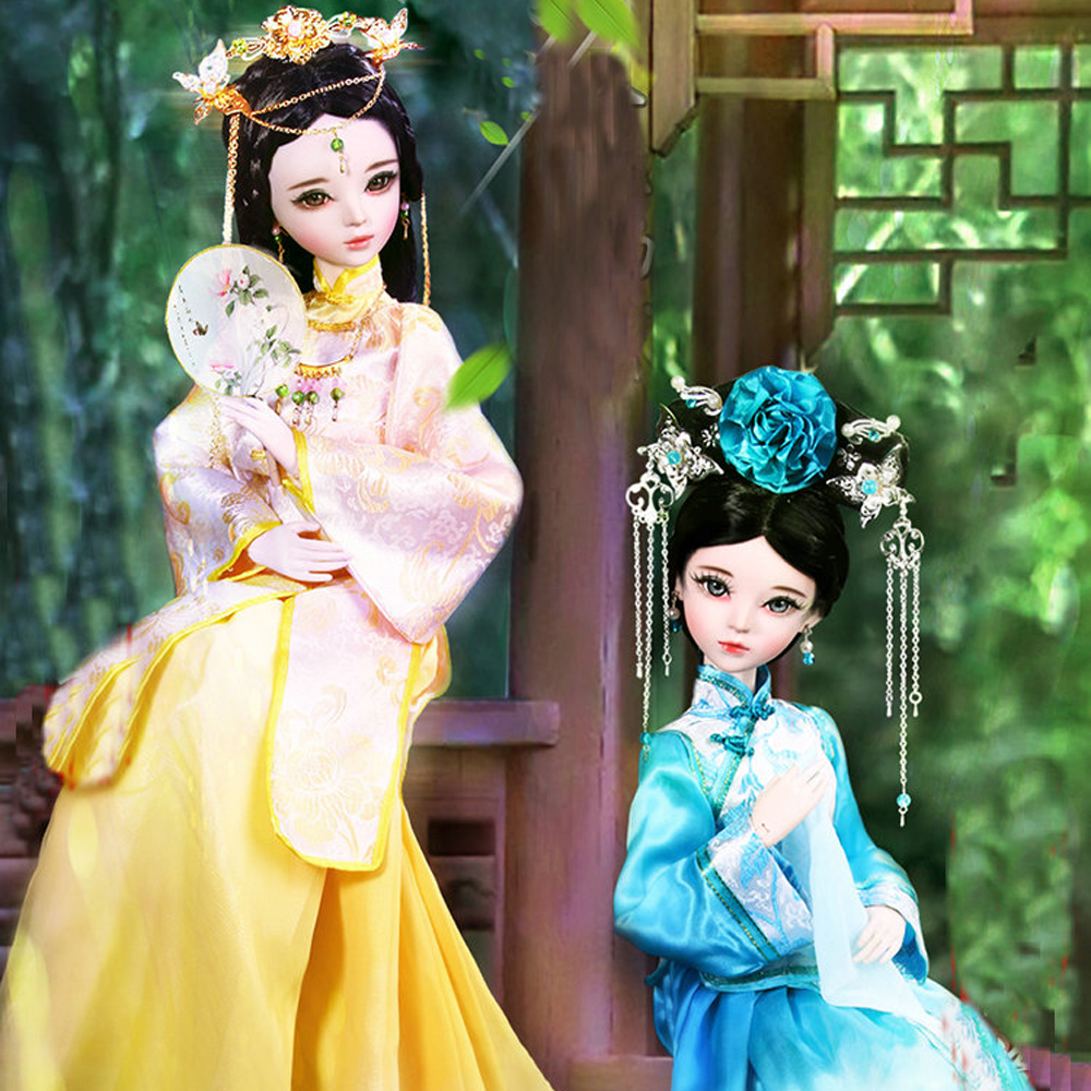 60cm handmade 1/3 bjd doll chinese princess dolls 23 jointed ancient costume beauty dressing doll full set girls toys gift