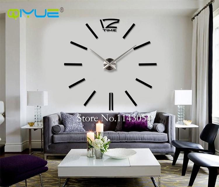 Home Decorations Black Digital Wall Clock European Oversized Living Room  Minimalist Fashion DIY Wall Art Bell Clock W003B In Wall Clocks From Home U0026  Garden ... Part 97