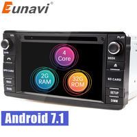 Eunavi Android 7.1 2din Car DVD Radio player For MITSUBISHI OUTLANDER 2013 2016 GPS For Outlander Pajero DAB+ wifi bluetooth swc