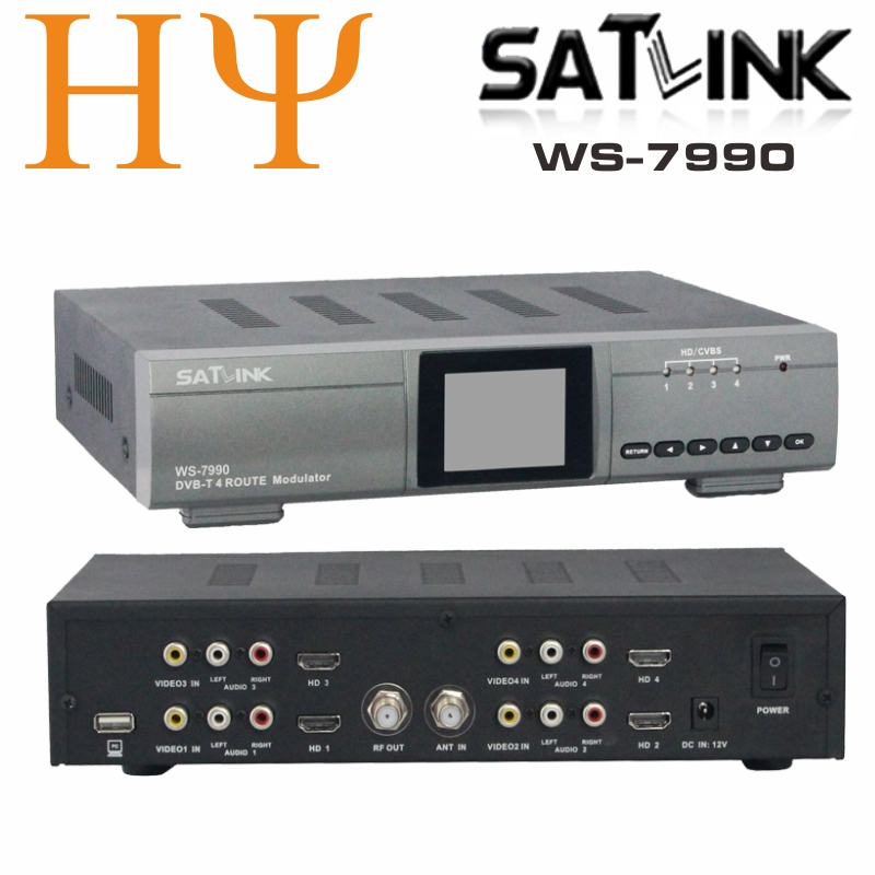 Original Satlink WS-7990 4 Route DVB-T modulator AV HDMI Four Router DM Modulator DVB-T AV HD Digital RF Modulator 80 channels hdmi to dvb t modulator hdmi extender over coaxial