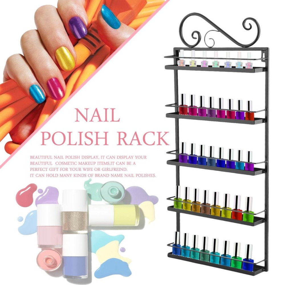 5 Tiers Cosmetic Makeup Nail Polish Rack Metal Display Stand Wall Mounted Holder Organizer For Home Salon Business Spa