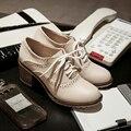 Плюс размер 34-44 толстые туфли на высоких каблуках женщина кружева кусок каблук оксфорд обувь для женщин весна осень обувь на высоких каблуках 2017