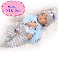 Satılık 55 cm 22 inç reborn baby dolls ile mavi 22 ''baby bebek Giysileri En Iyi Fiyat Bebe Reborn De Silikon Barato En Iyi Bebek toys