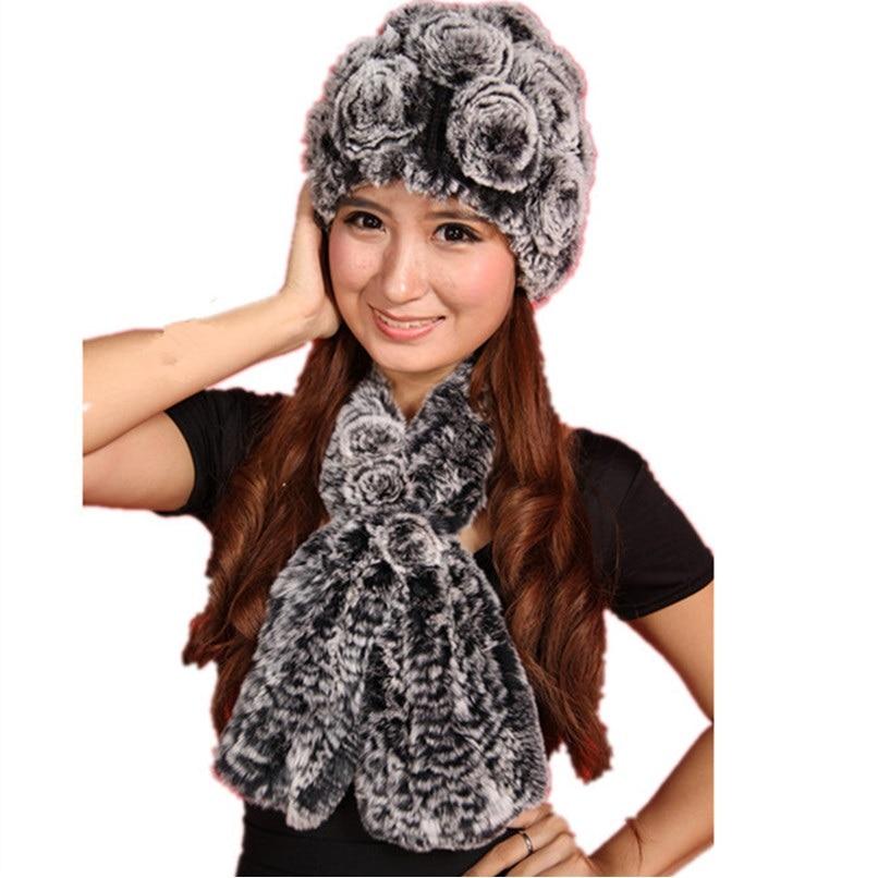 Women Fur Hat Scarves Warm Natural Rex Rabbit Fur Winter Hat, Women's Hat 4 Colors Autumn Fur Beanies Scarf H308