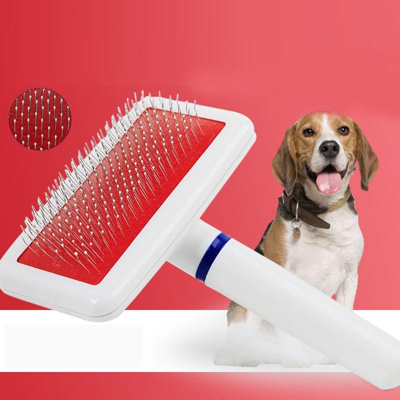 Hot Puppy Dog Cat font b Pet b font Deshedding BrushNeedle Comb Hair Shedding Grooming Quick
