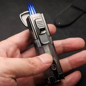 Image 3 - Encendedor Turbo potente de Triple antorcha a prueba de viento, encendedor de Gas de tubo con chorro de fuego, Metal con cortador de puros, PISTOLA DE PULVERIZACIÓN 1300 C butano