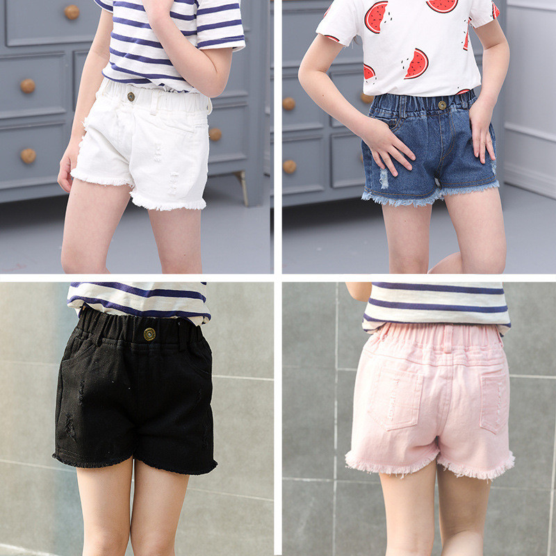 Summer 2019 Girls Denim   Shorts   Jeans   Shorts   Children Clothing Lovely Baby Cotton Linen Beachwear Pant 3-15Y Girls Clothes