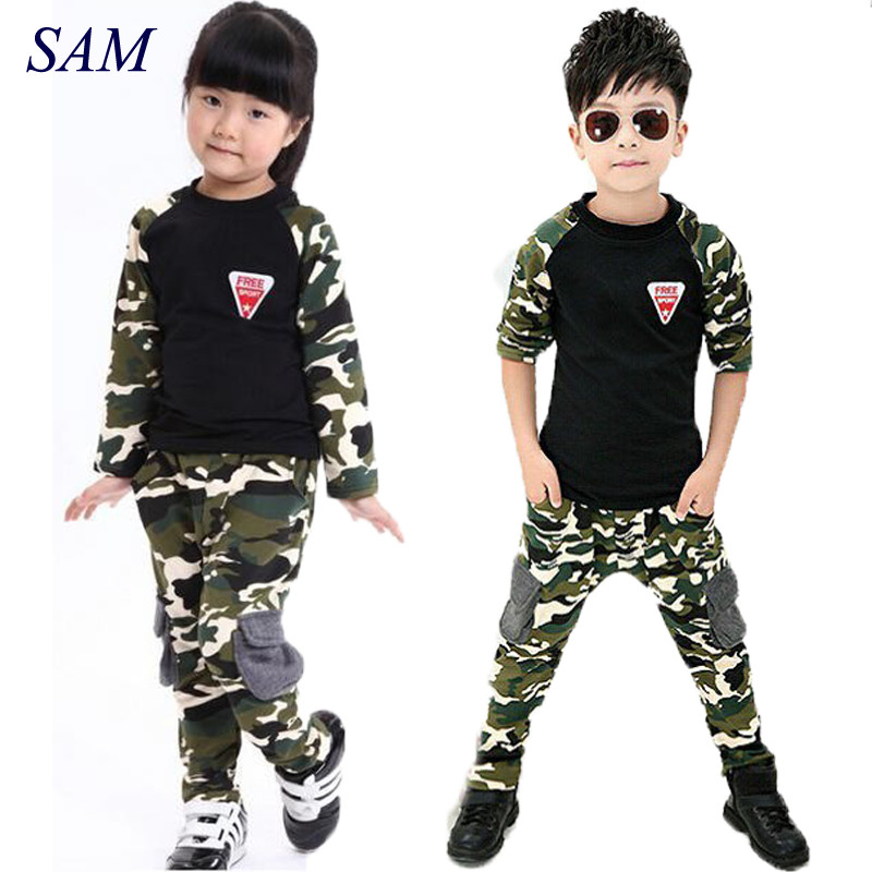 2017 New Camouflage Kids Clothing Set for Boys&Girls Spring&Autumn Cotton Camo Boys Sports Set Girls kids clothes free shipping 2017 new boys clothing set camouflage 3 9t boy sports suits kids clothes suit cotton boys tracksuit teenage costume long sleeve