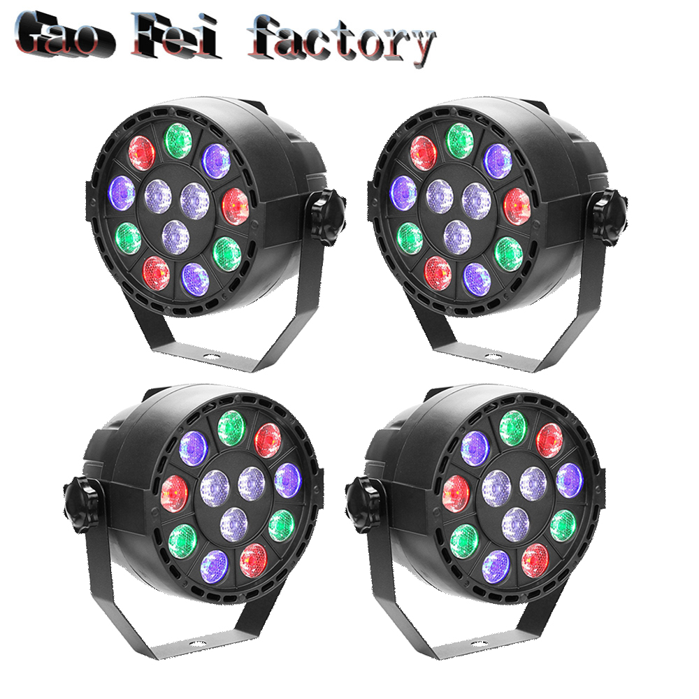 4pcs/lot Stage Light 12x3W Flat LED Par RGBW DMX512 Disco Lamp KTV Bar Backlight Laser Beam Projector Dmx Controller Spotlights