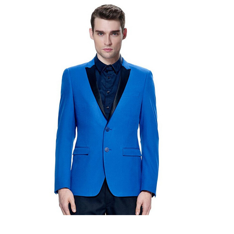 Blue suit jacket and black trousers with custom made of pure color ...