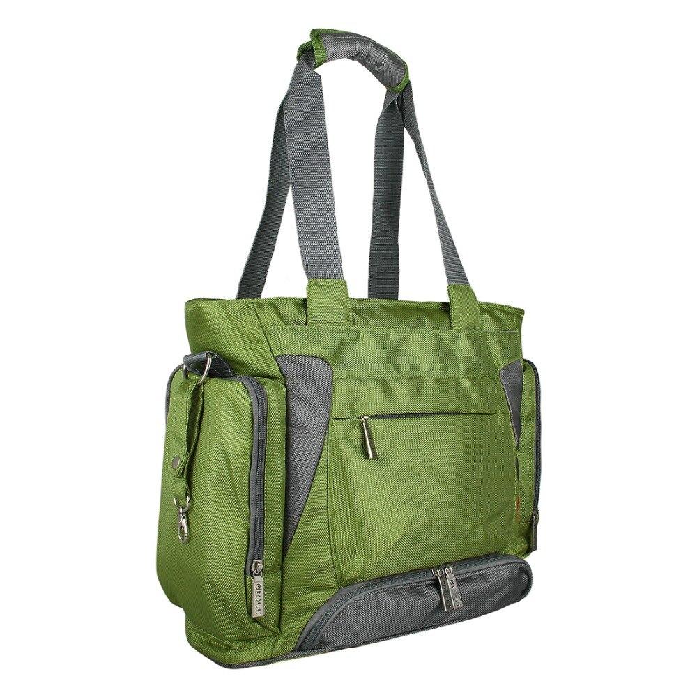 Bolsa de pañales para bebé mommore bolsa de pañales verde con almohadilla cambiante bolsas grandes para mamá bolsos de mano impermeable para cochecito de bebé - 3