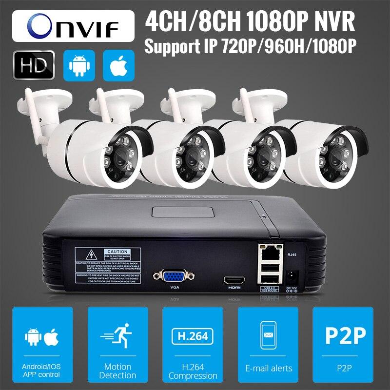 4CH 1080 p HDMI WiFi Enregistreur Vidéo 4 pcs 1MP IR Extérieure Étanche Sans Fil IP Caméra de Sécurité caméra de Vidéosurveillance système