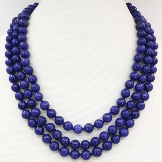 Fashion women bridal wedding party prom 3 rows necklace blue lapis lazuli 8mm stone round beads jasper jewelry 17-19inch B3207