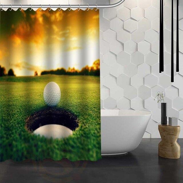 Custom Golf Ball Shower Curtain Waterproof Fabric For Bathroom WJY117