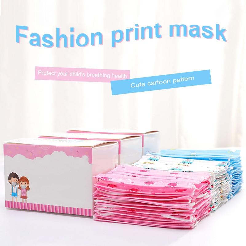 Hot 50 Pcs Childern Kids Disposable Mouth Face Mask Cartoon Dustproof Non-Woven Fabric HD88