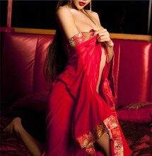 Robe de nuit en soie, rouge Sexy, femmes chinoises, peignoir de mariage pour demoiselles dhonneur, vêtements de nuit, col v, Robe Kimono, grande taille XL, ZF043
