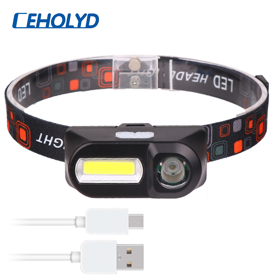 Q5 LED Headlamp Head Lamp Flashlight USB Rechargeable 18650 Torch Camping Hiking Night Fishing Light Headlight