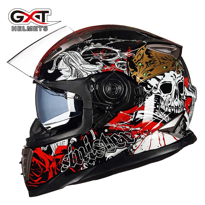2017 Winter New Knight Protection GXT Double Lens Full Face Motorcycle Helmet Full Cover Motorbike Helmets Of ABS PC Visor Lens