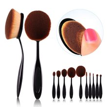 10pcs Face Makeup Brush Foundation BB Cream Flawless Base Powder Puff Blusher Cosmetic Beauty Toothbrush Shaped Curve Brushes