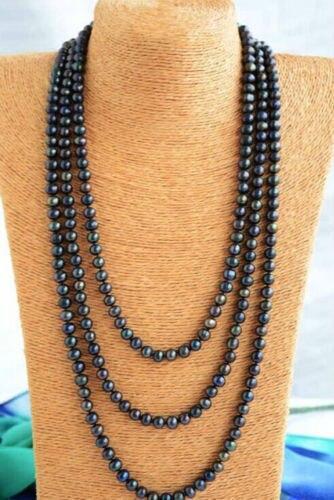 Femmes cadeau mot amour expédition>>>>> superbe 9-10mm réel rond noir bleu multicolore collier de perles 78 ''1