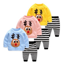 Newborn Set 2018 Autumn New Children Clothes Cotton Knit Pullover+Pants 2pcs Baby Girls Sets Cartoon Boys Suit Kids Toddler Top boys and girls cartoon sweaters 2017 autumn winter new children knitting clothes baby casual cotton knit wear pullover tops 3 8y
