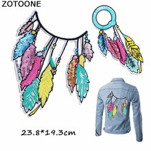 ZOTOONE Large Patch Sequin Colorful Leaves Feather Embroidered Iron on Sewing Applique for Jeans Clothing Decorations E