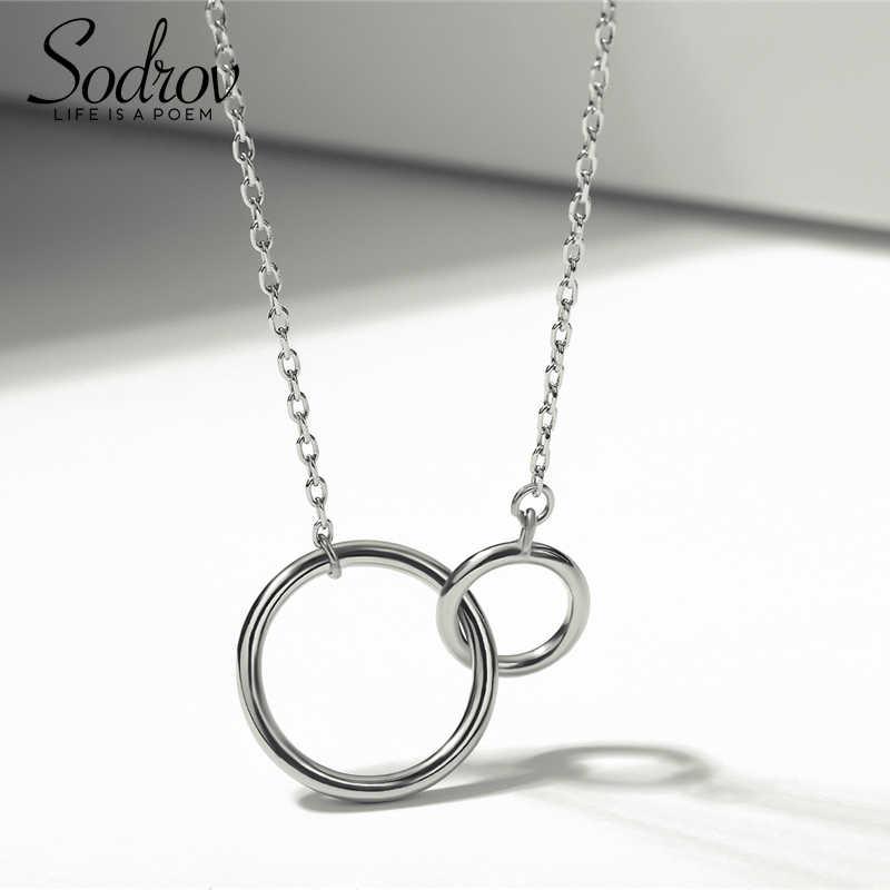 Sodrov 925 prata esterlina colar senhoras elegante corrente colar moda círculo prata esterlina jóias redondo r colar