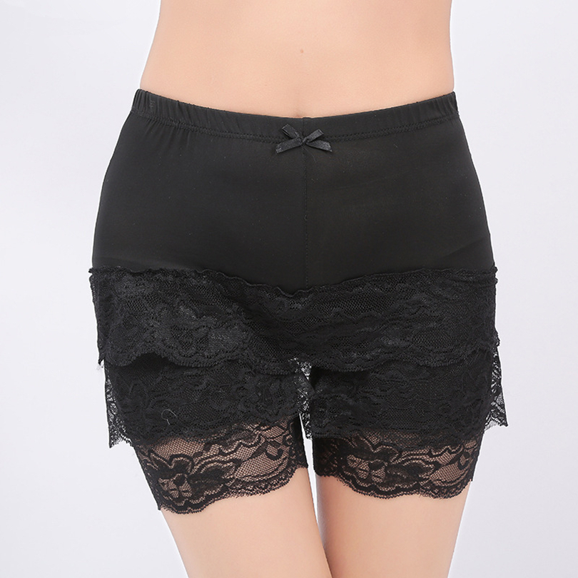 CUHAKCI New High Qualtiy Black Deportes Sweet Crochet Tiered Lace Shorts Skorts White Short Pants W078