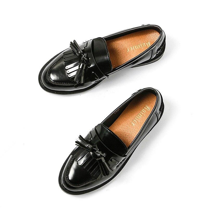 on Pu Mocasines Oxfords Zapatos Slip Borla A Cuero Negro Punta Flats Plataforma Estrenar Mujeres red Black De Creeper n6YxYEwqv1
