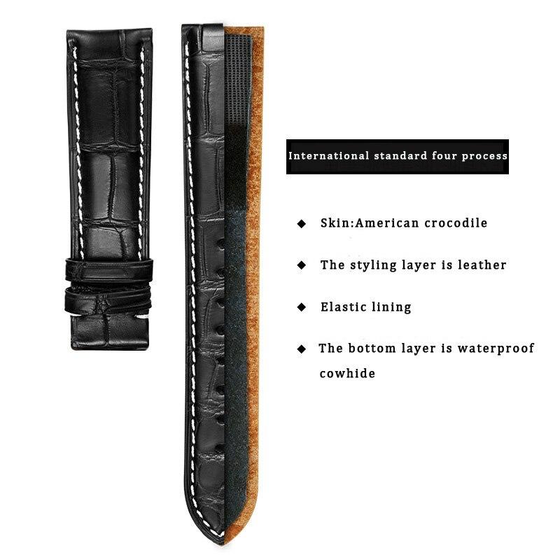 DOM bracelets de montre de rechange en cuir de Grain de Crocodile avec boucle de déploiement pour hommes et femmes 18mm 20mm 22m accessoires de montre - 2