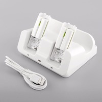 3 In 1 Charger Station Docking White 2 Battery Case For Wii U Gamepad Game Console