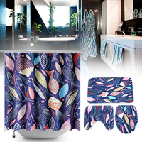 180x175cm Leaves Bathroom Shower Curtains Toilet Cover Mat Non Slip Rug Set High Quality Polyester Bathroom Shower Curtain Set