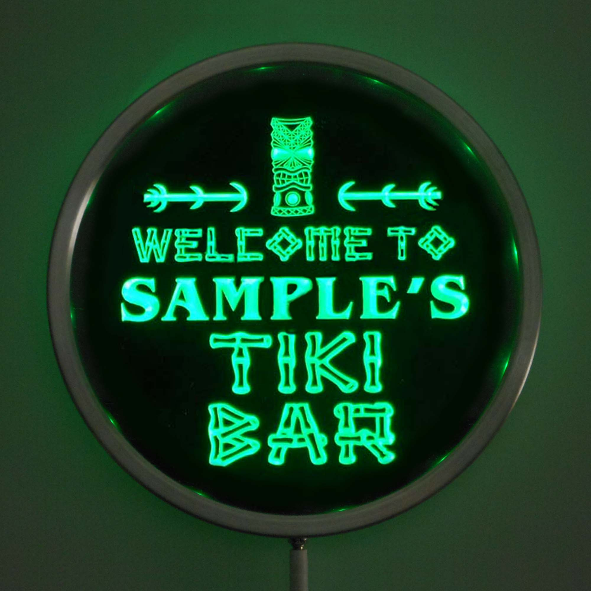 rs-pm-tm Custom LED Neon Round Signs 25cm/ 10 Inch - Personalized TIKI BAR Sign RGB Multi-Color Remote Wireless Control