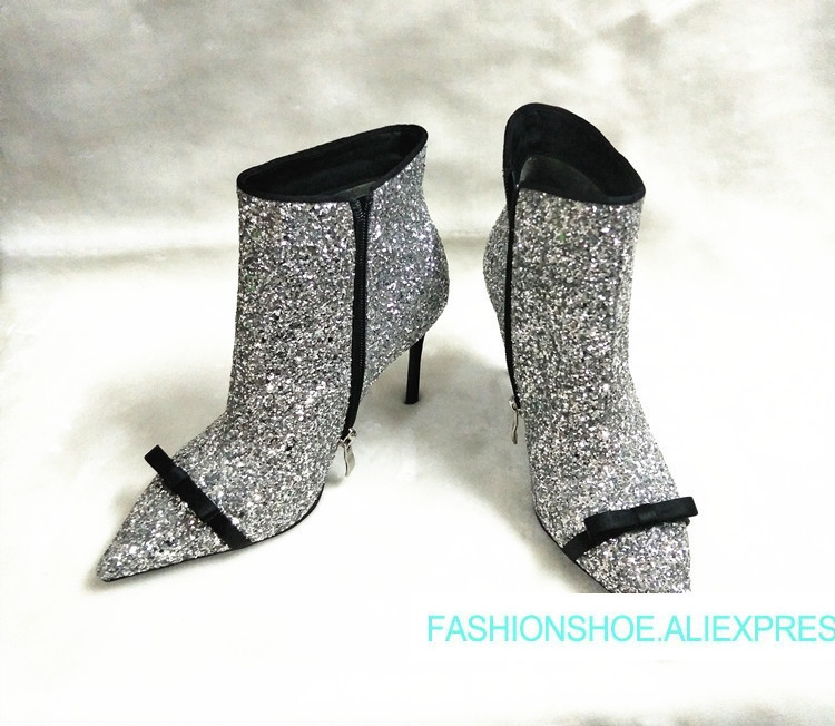 2018 Hot Autumn Winter Boots Shoes Woman Sexy Glitter Bling Ankle Boots Side Zip High Heels Pointy Toe Woman Runway Boots Tide hot chic woman leather ankle boots spring autumn round toe metal decro side zip black boots high heels woman design runway boots
