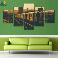 S 5 Panel Frameless Picture Train City Landscape By Numbers Pictures On The Wall Home Decoration