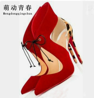 2019 New women High Heeled Pointed Toe Thin Heel Red Shoes Lace Up Leopard Wedding Shoes Fashion Shoes Women Pumps