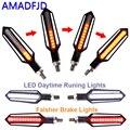 AMADFJD 2/4 шт. Сигнальный сигнал поворота  светодиодный мигалка для мотоцикла  мигалка для мотоцикла  фонарь DRL  индикатор  стоп-сигнал