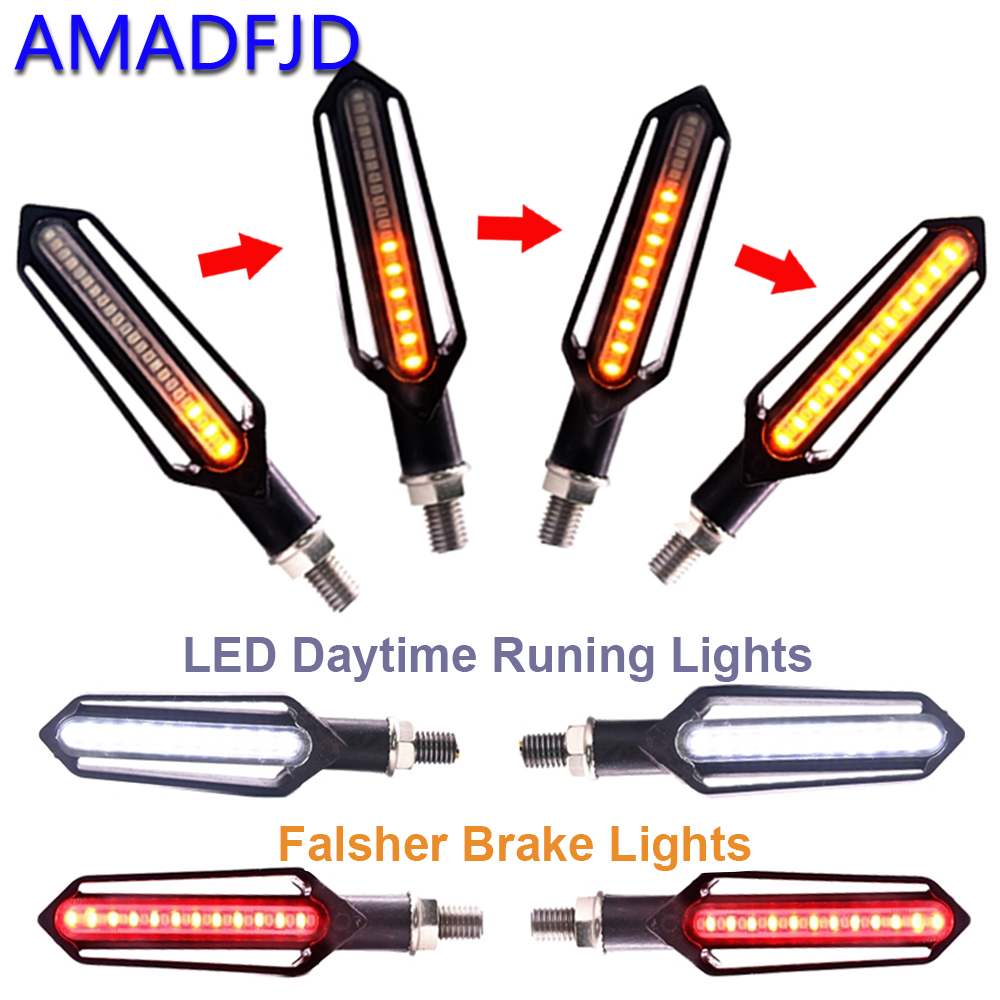 AMADFJD 2/4Pcs Turn Signal Flowing Turn Signal Motorcycle Led Blinker Motorcycle Flasher Light DRL Indicator Light Brake Lamp 2 4ghz waterproof wireless helmet 8 led brake and turn light lamp black