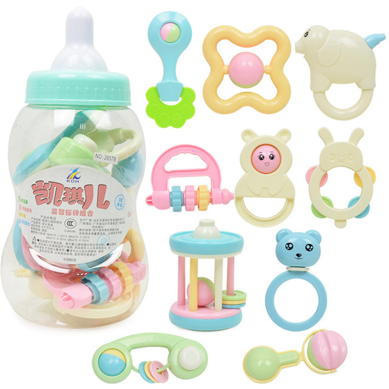 10pcs Baby First Rattles Toys  And Teether 0-12 Month Toy With Giant Milk Bottle Grasp Kids Educational Toys For Childr