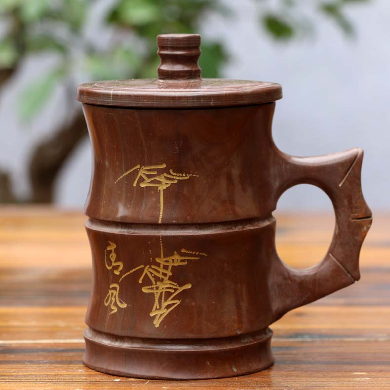 Vaso de piedra natural taza de oficina piedra - Cocina, comedor y bar