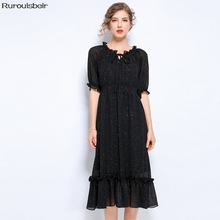d9b1ff76c1 2019 temperamento elegante de gran tamaño Slim vestido de verano negro de  encaje con volantes-
