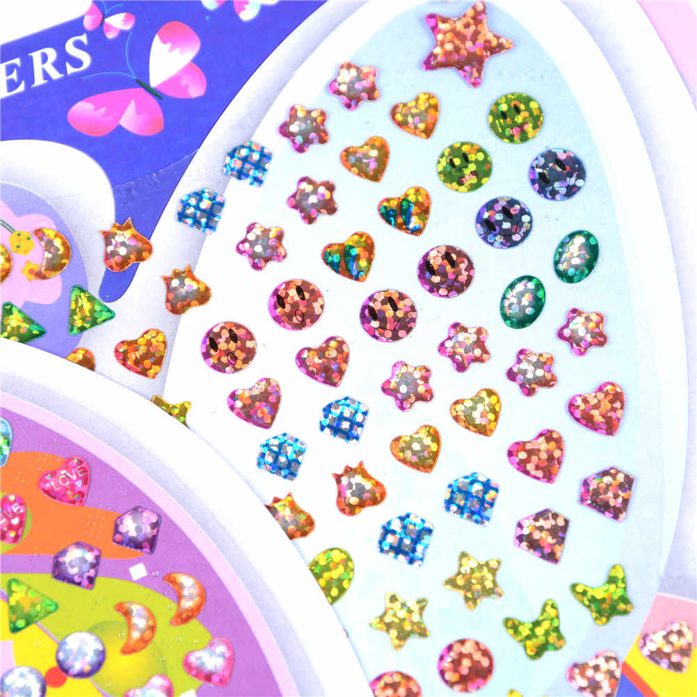 1Sheet Cartoon Reward Crystal Stickers Wonderful Children Boy Girl Stickers Earring Reward stick kindergarten face stickers