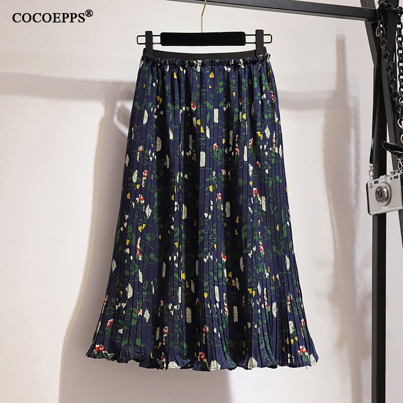 2XL-6XL Large Size Women's Skirts 2019 Summer Floral Skirt Chiffon Pleated Skirt Boho Retro Women High Waist Print A-line Skirts
