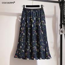 2XL-6XL Large size Women's Skirts 2019 Summer Floral skirt chiffon Pleated Skirt Boho Retro Women High waist Print A-line Skirts цена