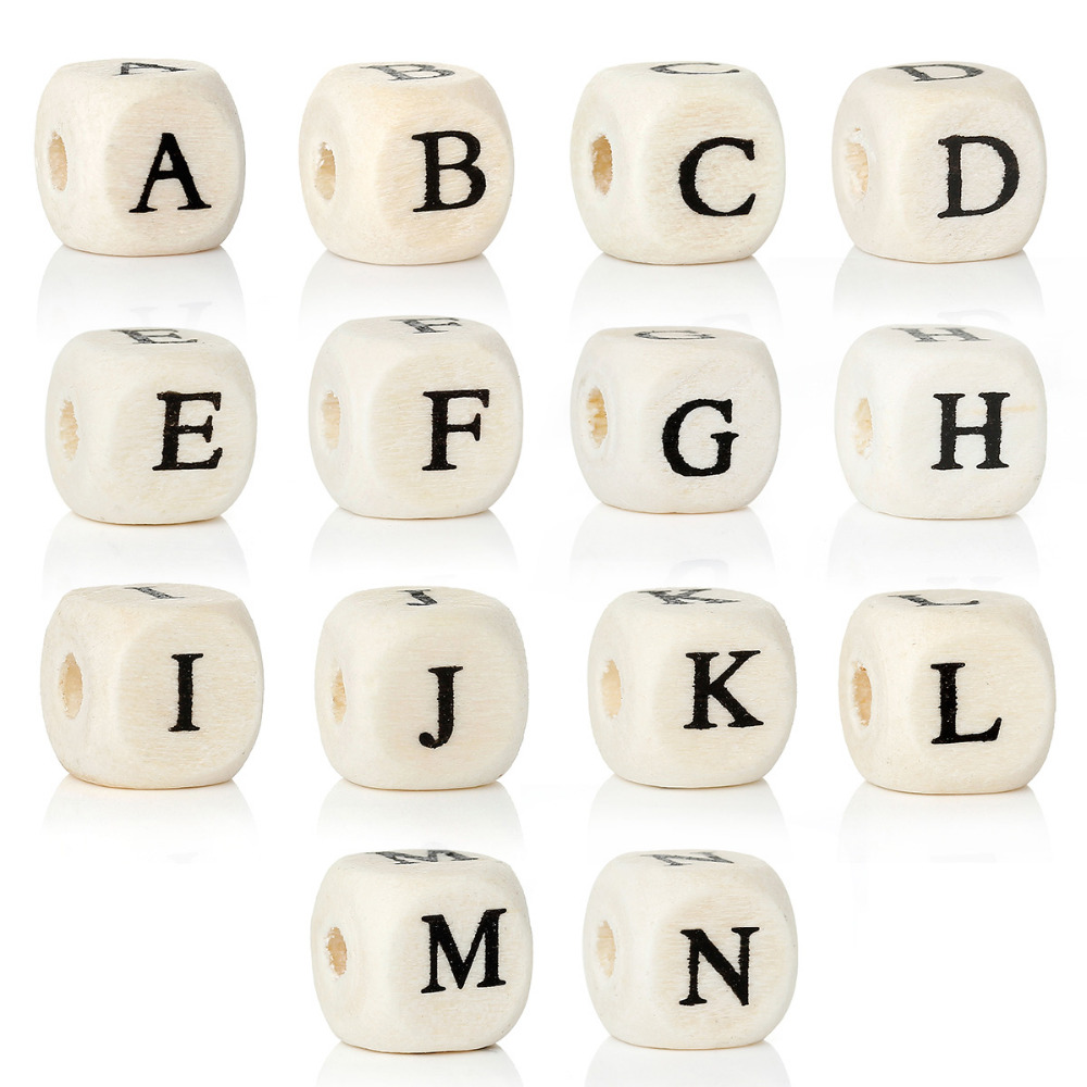 8SEASONS A to N Single Letter Wood Spacer Beads Cube Natural Alphabet/Letter Beads About 10mm (3/8),Hole:4mm,300PCs 10pc cube silicone letter beads personalized name letter bracelet chewing alphabet beads food grade silicone 12mm