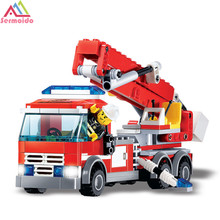 kazi 300pcs city fire station building blocks diy educational bricks kids toys best kids xmas gifts toys for children sermoido Toys Building Blocks DIY Fire Fighting Truck Bricks Sets Educational Toys For Kids Compatible City Toy Car Gifts