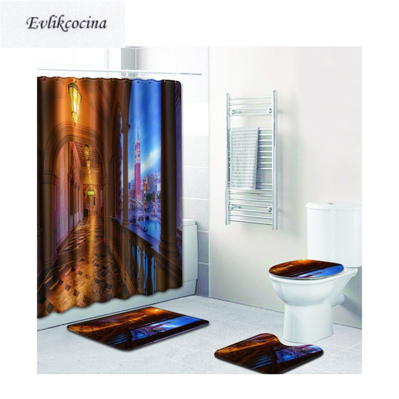 Free Shipping 4Pcs Bright Court Gallery Casa De Banho Banyo Bathroom Carpet Toilet Bathmat Set Tapis Salle De Bain Alfombra Bano