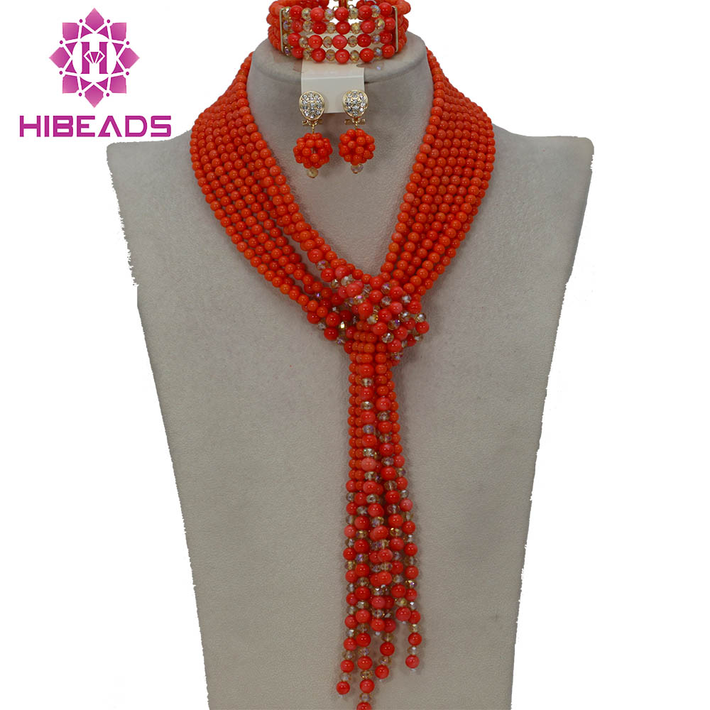 New Arrival!2017 Luxury Pink Coral African Wedding Jewelry Sets 48inches Coral Beads Necklace Jewelry Set CNR178New Arrival!2017 Luxury Pink Coral African Wedding Jewelry Sets 48inches Coral Beads Necklace Jewelry Set CNR178