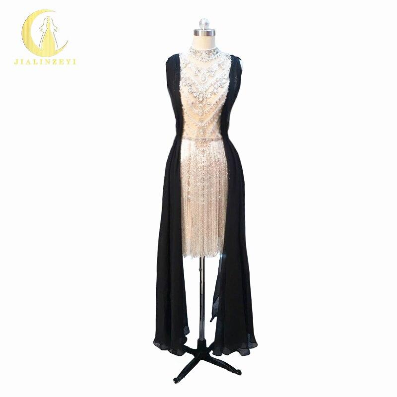 Rhin réel échantillon Image Sexy luxueux col haut perles de cristal nues avec robes de soirée formelles noires robes de bal